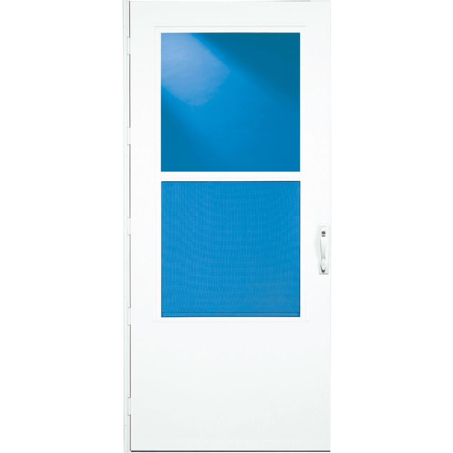 Larson Life-Core DuraTech 36 In. W. x 80 In. H. x 1 In. Thick White Self-Storing Storm Door Image 2