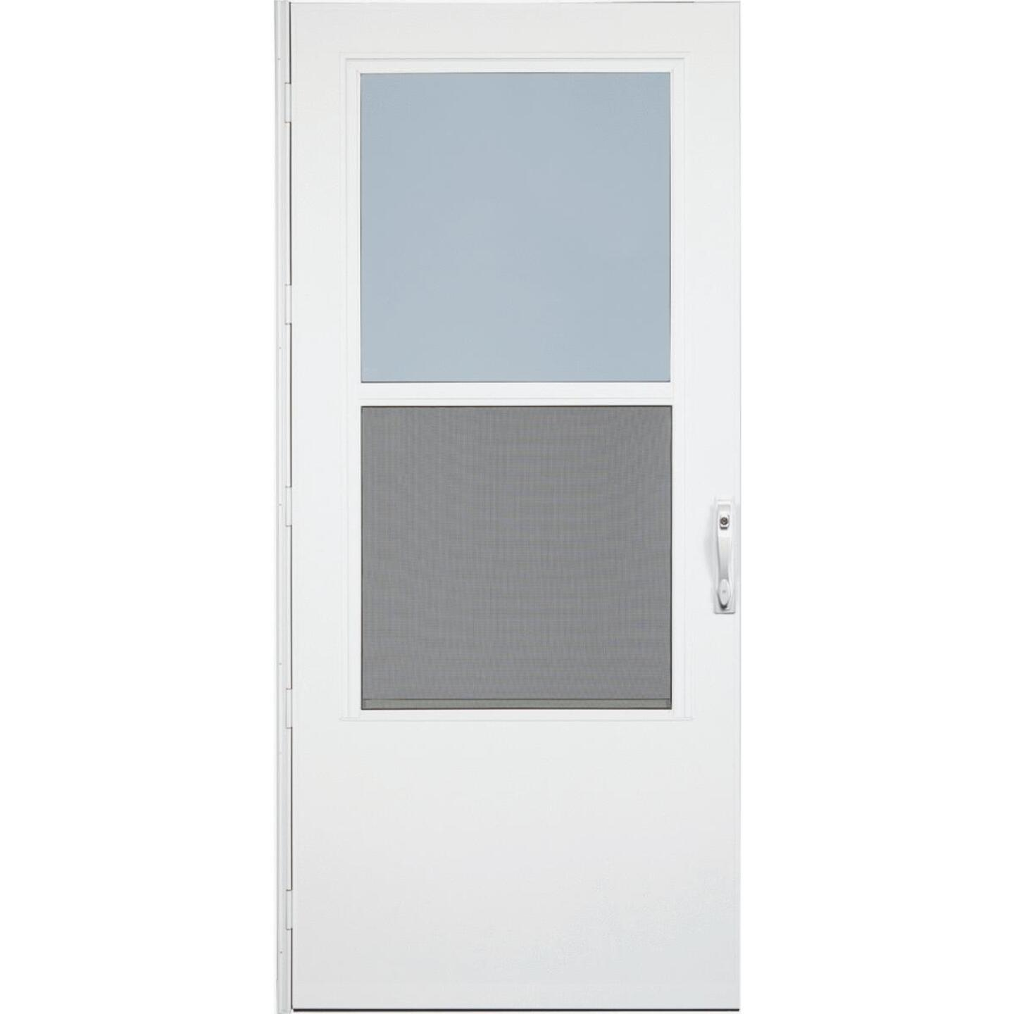 Larson Life-Core DuraTech 36 In. W. x 80 In. H. x 1 In. Thick White Self-Storing Storm Door Image 1