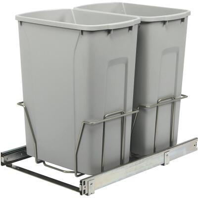 Knape & Vogt Real Solutions 29 Qt. In-Cabinet Double Pull Out Bottom Mount Trash Can