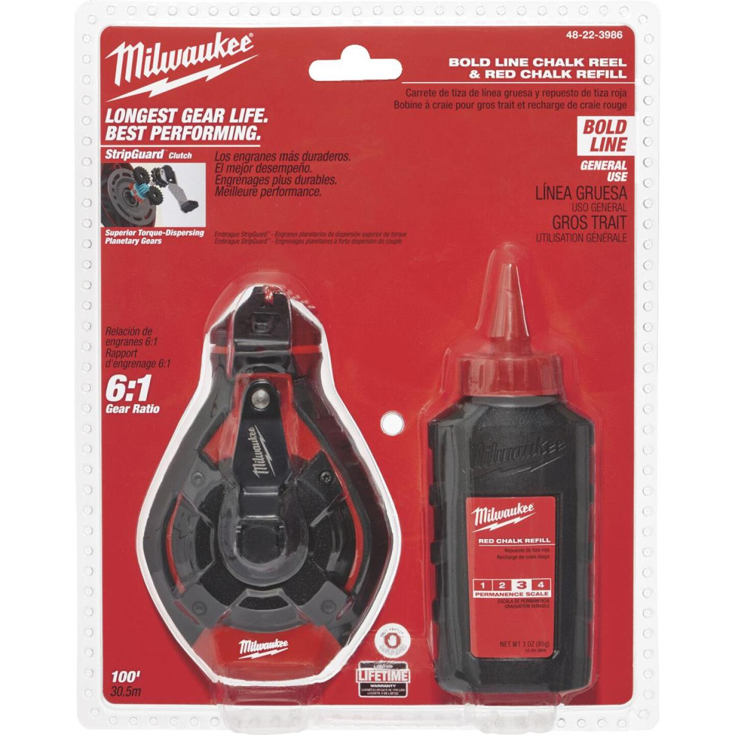 Milwaukee 100 Ft. Bold Chalk Line Reel and Chalk, Red Image 1