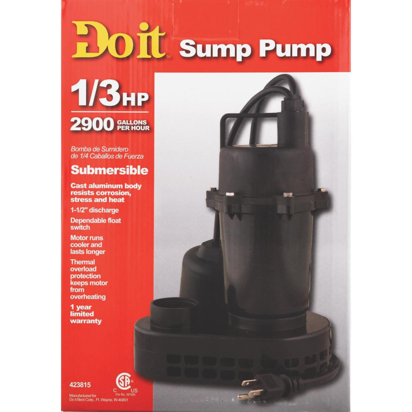 Do it 1/3 HP 115V Effluent and Submersible Sump Pump Image 2